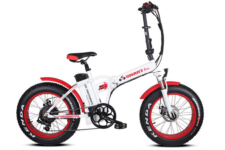 אופניים חשמליים Bigfoot בצבע לבן אדום