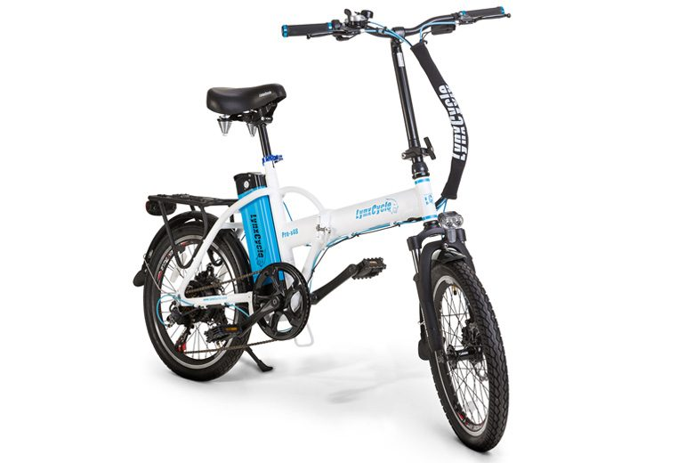 אופניים חשמליים lynxcycle בצבע לבן תכלת