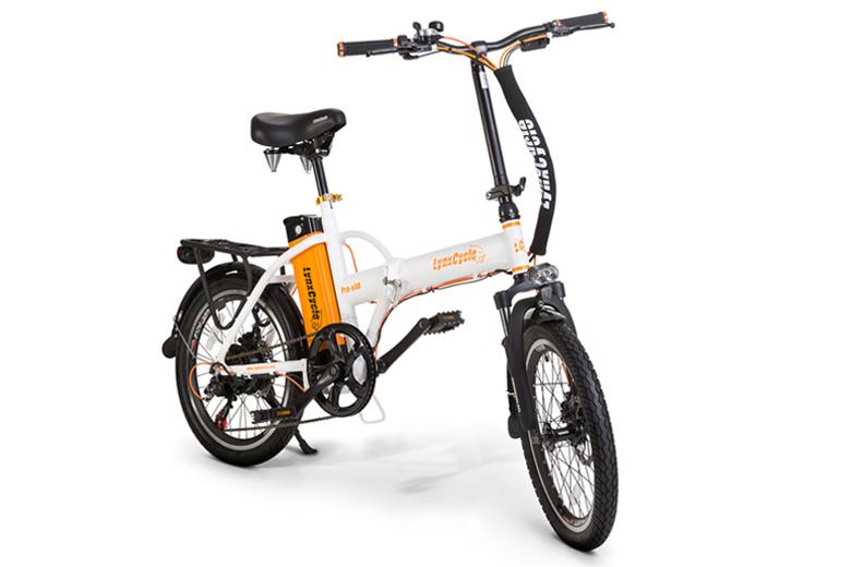 אופניים חשמליים lynxcycle בצבע לבן כתום